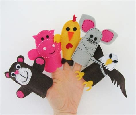 finger puppets piggy teddy chicken mouse eagle