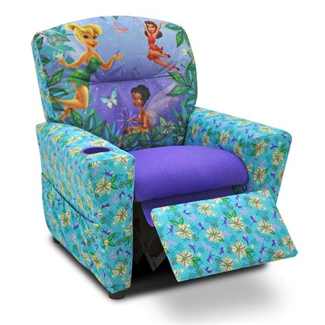 Toddlers Armchairs by Disney Fairies Floral Blue Purple Childrens Recliner