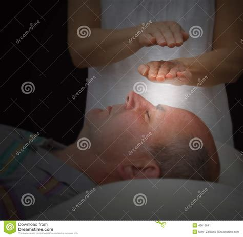 healer sensing aura levels stock photo image