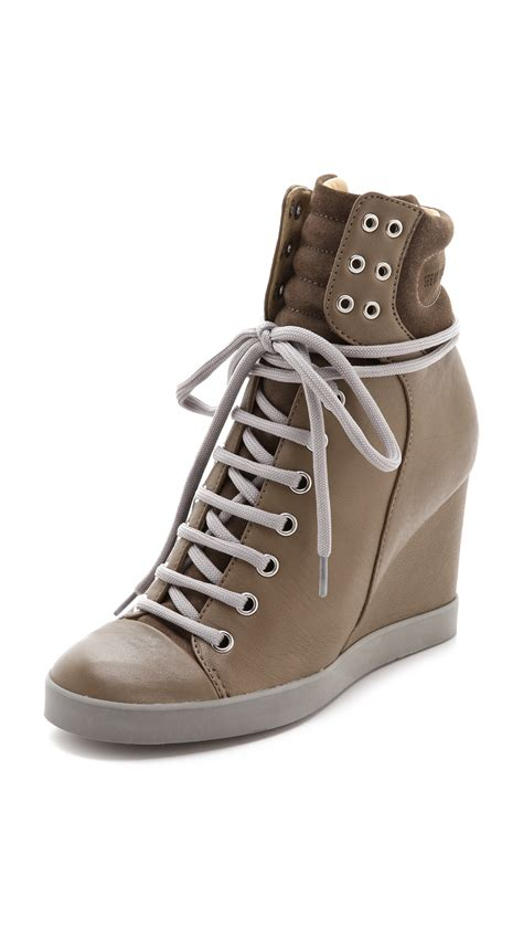 wedge sneakers see by chlo 233 lace up wedge sneakers in brown grey lyst