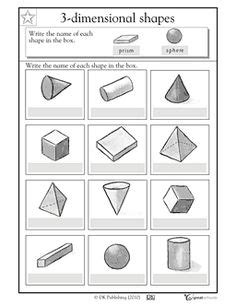 Three Dimensional Shapes Worksheets For Grade by 12 Best Images Of 3d Shapes Worksheets 1st Grade 3d