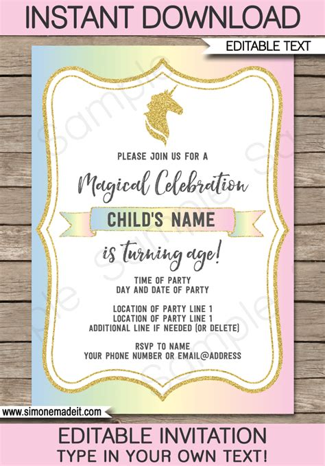 Unicorn Invitations Template Unicorn Theme Birthday Party Invite Unicorn Invitations Free Template