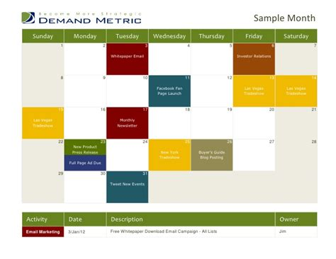 Marketing Calendar Template 2012 Marketing Caign Calendar Template