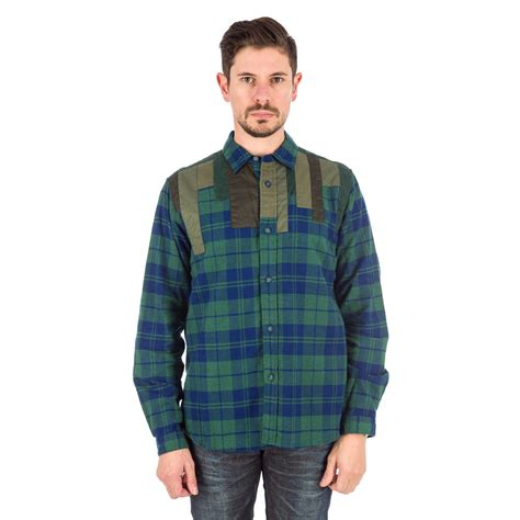 Patchwork Shirt - white mountaineering patchwork shirt in green in green for