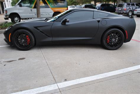 corvette stingray matte matte black gunmetal stingray color change wrap car