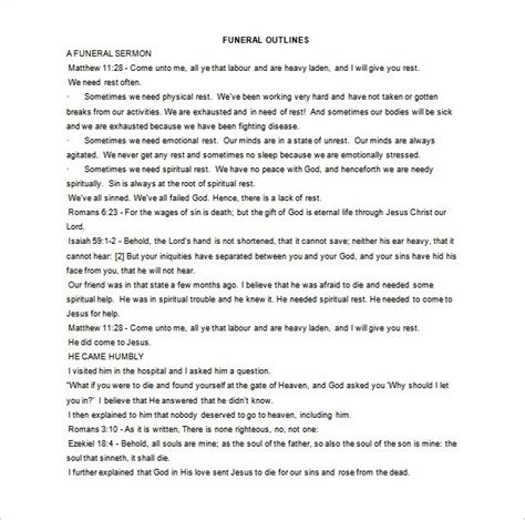 free sermon outline template sermon outline template 8 free word excel pdf format