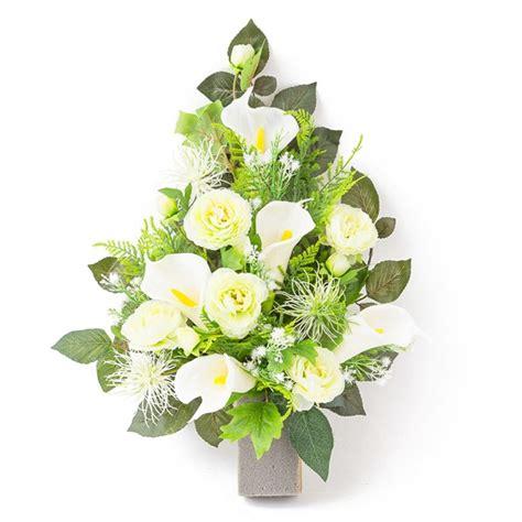 fiori calle bianche mazzo di dalie e calle bianche in plastica con verde