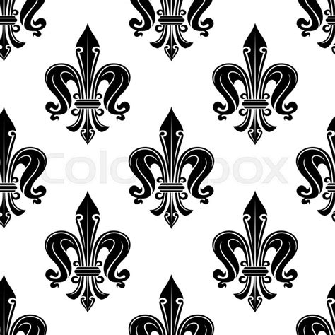 black and white victorian pattern antique french fleur de lis seamless pattern with elegant