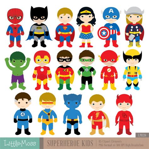 Promo Sleepsuit Superbaby Motif Batman Superman 17 superheroes characters digital clipart