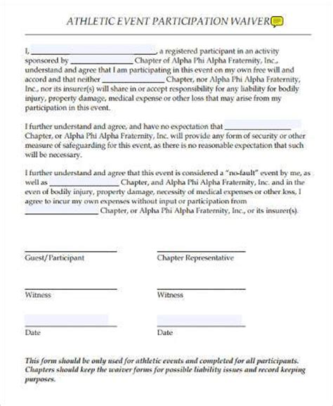 Sle Athlete Waiver Forms 9 Free Documents In Word Pdf Participation Waiver Form Template