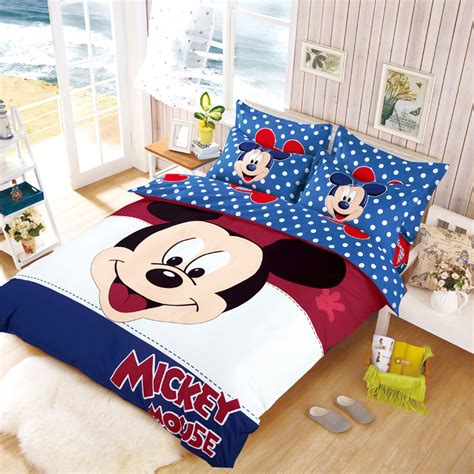 mickey mouse bed set full size kids mickey minnie mouse present cotton bedclothes bedding