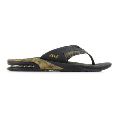 reef fanning mens black mens reef fanning prints black gold toe post sandals flip