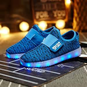 led light up yeezy sport flash shoes royal blue