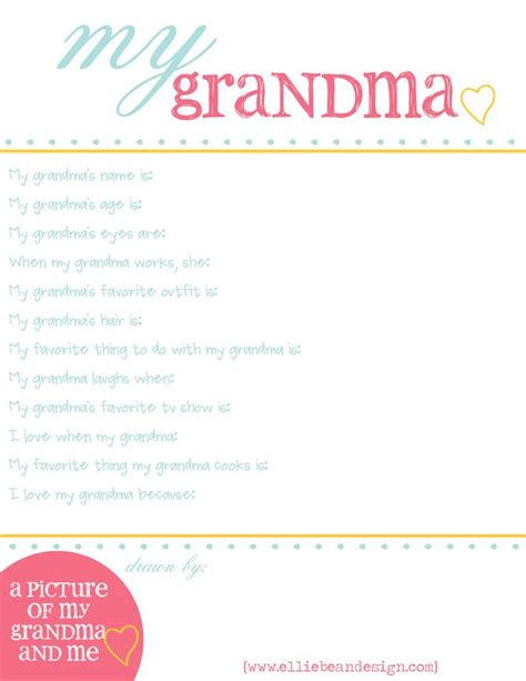 printable grandma questionnaire questionnaire for kids to fill out about grandma for
