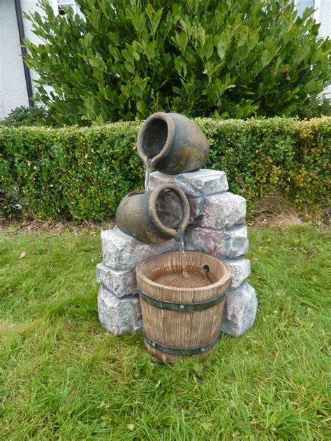 medium 2 pots wooden barrel water feature with lights 163
