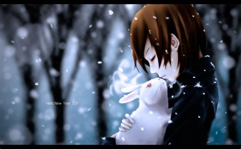 girl with brown hair in snow brunettes bunnies winter snow vocaloid brown short hair