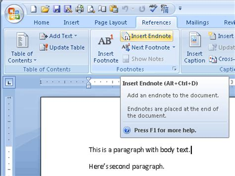 format all footnotes word microsoft office word 2007 endnote cross reference