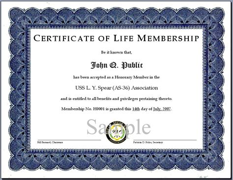 certificate of membership sle images