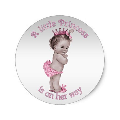 baby shower de princess vintage princess baby shower classic sticker zazzle