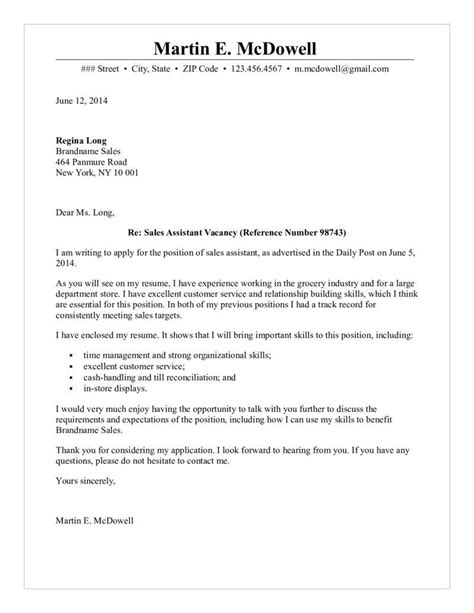 Letter Of Recommendation Research Assistant Sles Sales Assistant Cover Letter