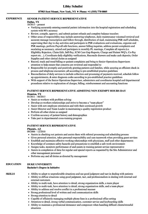 Patient Accounts Representative Description by Patient Service Representative Resume Resume Ideas