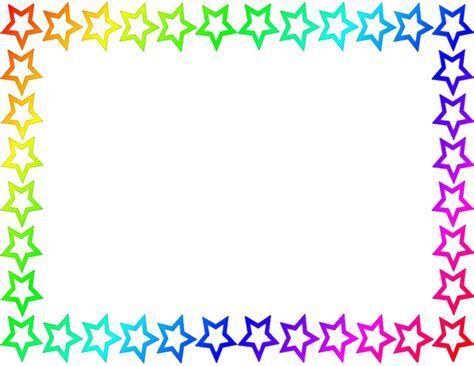 pin star border page rainbow public domain clip art image