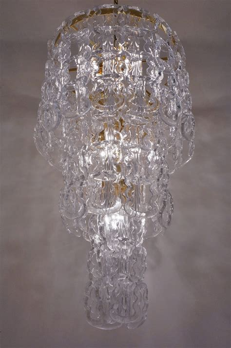 Glass Chain Chandelier Angelo Mangiarotti Style Chandelier Murano Glass Chain Link Gilt Frame Italian In Vintage