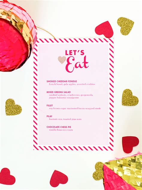valentines menu template search results for dinner menu template