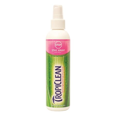 anti chew spray for dogs tropiclean stay away chew deterrent spray for dogs cats naturalpetwarehouse