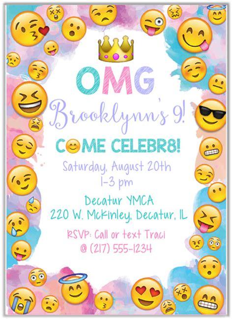 Emoji Birthday Party Invitations Kids Birthday Emoji Birthday Invitation Template