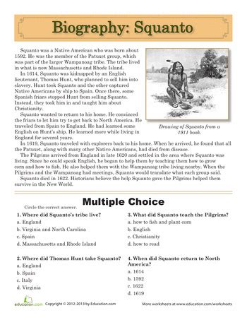 biography comprehension text squanto biography multiple choice free printable and