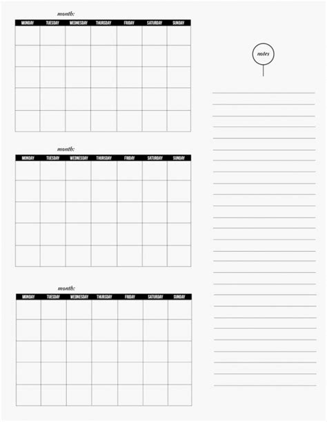 Three Month Calendar Template Word