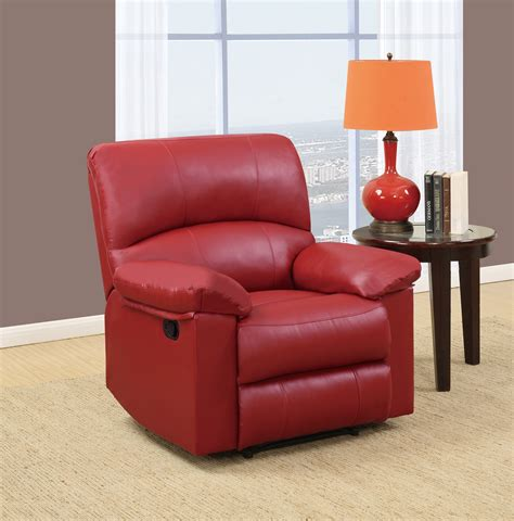 red reclining chairs u99270 red pu glider reclining chair by global furniture