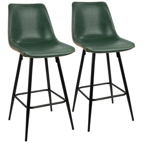 Black Faux Leather Counter Stools by Lumisource Durango 26 In Black And Green Vintage Faux