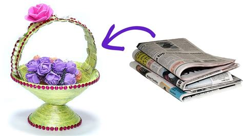 Waste Paper Craft - how to make diy newspaper basket best out of waste paper