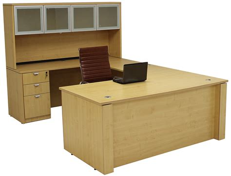Height Adjustable Office Desk Adjustable Height U Shaped Executive Office Desk W Hutch In Maple