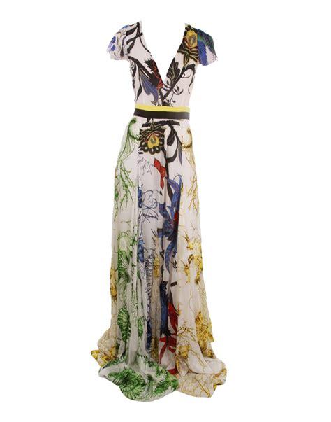 Floral Roberto Cavalli Top Simple Yet Whimsical by Roberto Cavalli Cap Sleeve V Print Dress Lyst