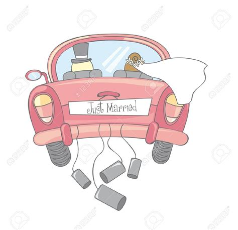 Just Married Auto Bilder by Just Married Car Isolated Vintage Royalty Free Cliparts