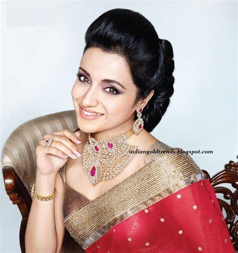 trisha hair in vtv trisha in gorgeous saree photoshoot for nac jewellers ad