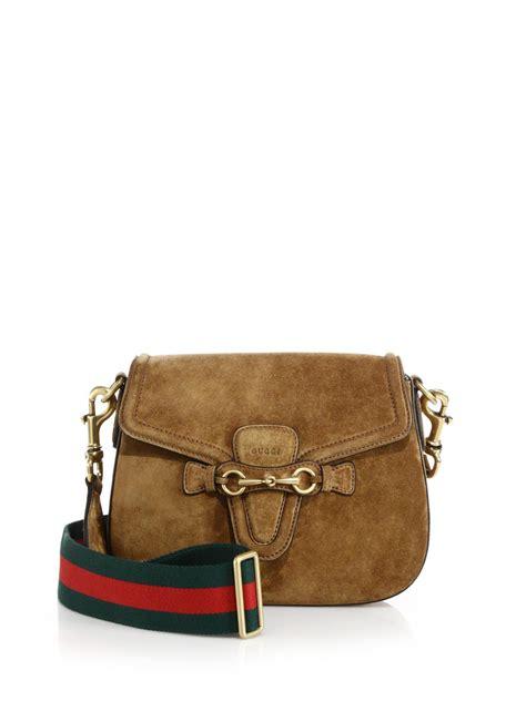 gucci web suede shoulder bag in brown lyst