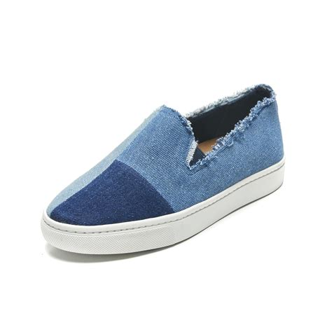 soludos sneakers lyst soludos patchwork slip on sneaker in blue
