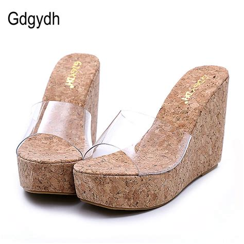 Best Seller Wedges T 1 3 8 Hitam Berkualitas Bagus gdgydh 2018 new summer transparent platform wedges sandals fashion high heels