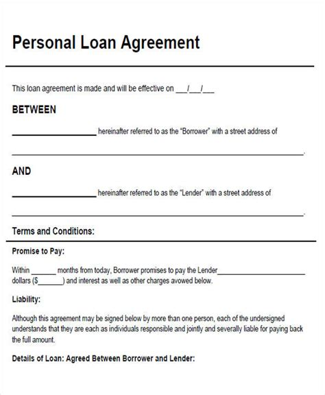 agreement form exles