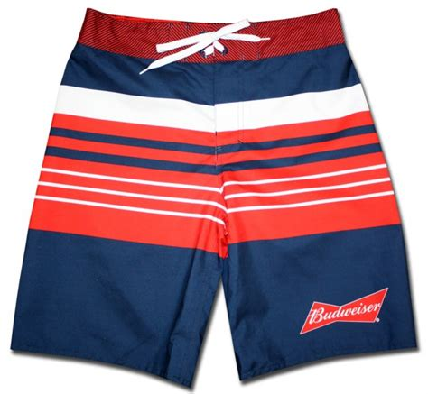 navy striped budweiser board shorts beertees