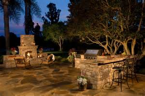 Pre Built Kitchen Islands Rustic Stone Outdoor Kitchen And Fireplace Traditional