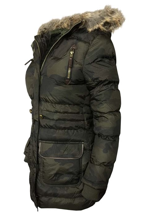 Camouflage Hooded Padded Coat new camouflage fur hooded jacket womens warm puffer