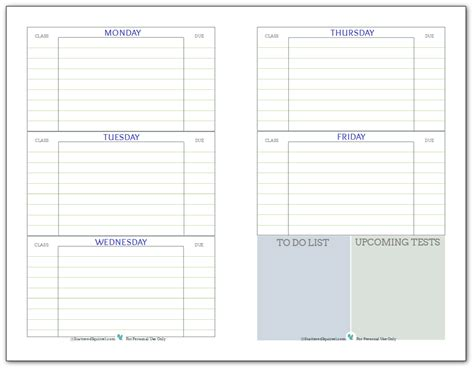 printable agenda for students getting ready for back to school student planner printables
