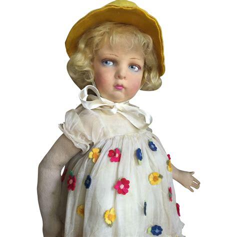 lenci doll 109 lenci 109 in organdy flowered yellow dress from