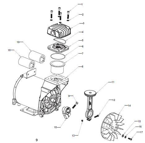 craftsman air compressor motor assembly  repair parts