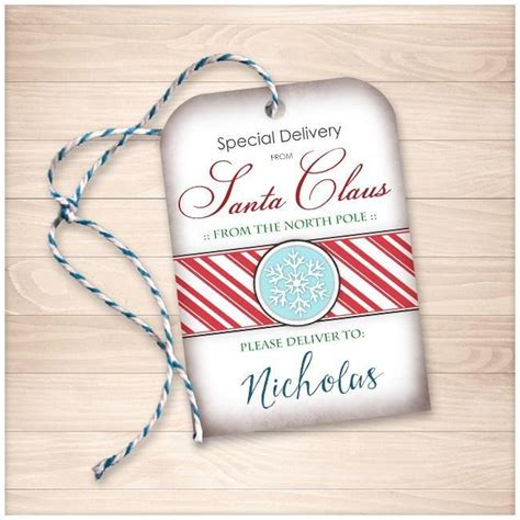 printable santa gift tags personalized special delivery from santa claus personalized gift tags